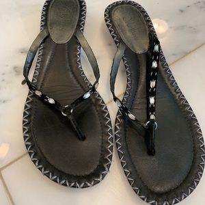 Cole Haan black thong sandals w crystals on front